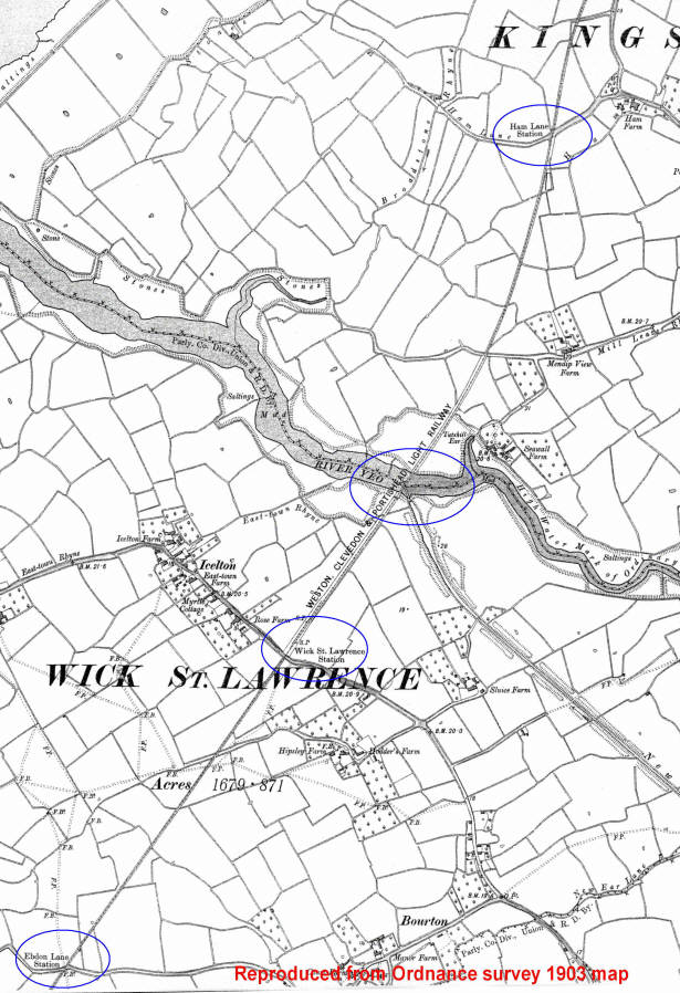 Wick St Lawrence area 1903 OS map